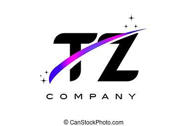 TZ T Z Black Letter Logo Design with Purple Magenta Swoosh