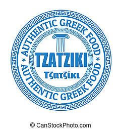 Tzatziki stamp - Tzatziki grunge rubber stamp on white,...