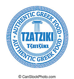Tzatziki stamp - Tzatziki grunge rubber stamp on white,...