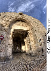Tzion gate of the old city in jerusalem holy land