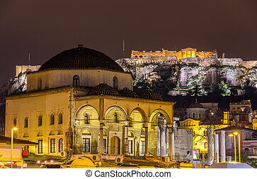 Tzistarakis Mosque and Acropolis of Athens - Greece