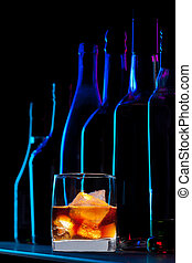 uísque, bebida, em, a, barzinhos