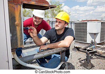 učedník, klimatizace, opravář