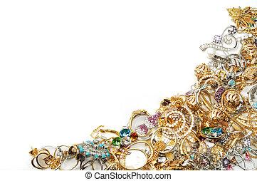 ułożyć, biżuteria, złoty
