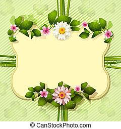 ułożyć, kwiaty, lustro