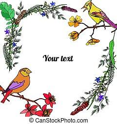 ułożyć, kwiaty, ptaszki