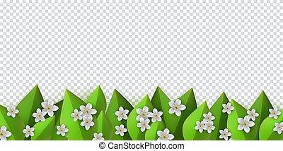 ułożyć, liście, wektor, zielone tło, kwiaty