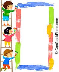 ułożyć, malarstwo, dzieciaki