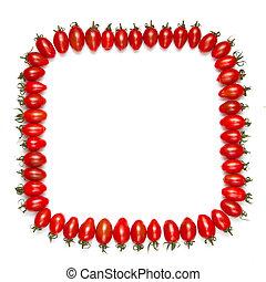 ułożyć, odizolowany, pomidory, tło, biały czerwony