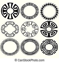 ułożyć, patterns., grek, wektor, klucz, meandry, brzeg, okrągły, set.
