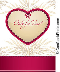 ułożyć, projektować, karta, szablon, valentine