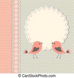 ułożyć, ptaszki, dwa, okrągły