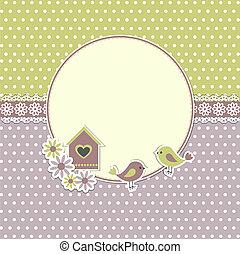 ułożyć, ptaszki, okrągły, birdhouse, retro
