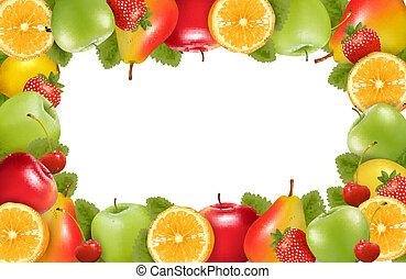 ułożyć, robiony, od, świeży, soczysty, fruit., vector.