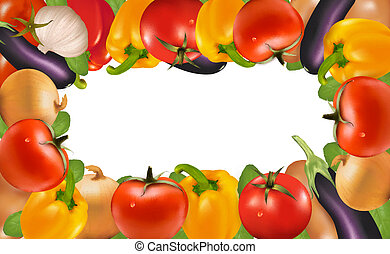 ułożyć, robiony, od, vegetables., wektor, illustration.