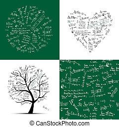 ułożyć, seamless, drzewo, tło, collection:, matematyka
