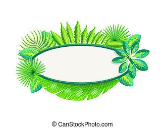 ułożyć, tropikalny, dłoń, chorągiew, liście, opróżniać