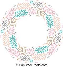 ułożyć, wieniec, liście, tropikalny, dłoń, liście, okrągły