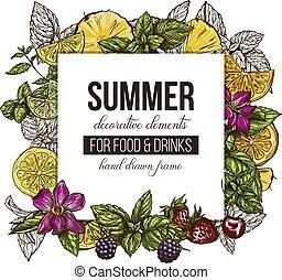 ułożyć, z, różny, owoce, i, jagody