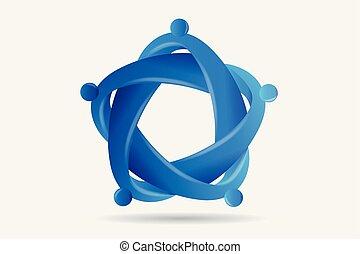uścisk, handlowy zaludniają, jedność, teamwork, logo