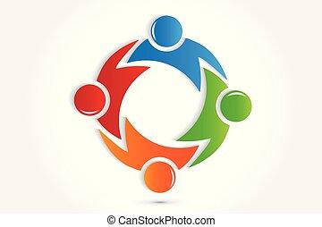 uścisk, ludzie, wektor, teamwork, logo, ikona