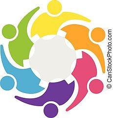 uścisk, przybory, handlowy zaludniają, teamwork, logo