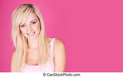 uśmiech, blondynka