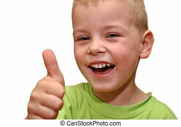 uśmiech, chłopiec, do góry, palec