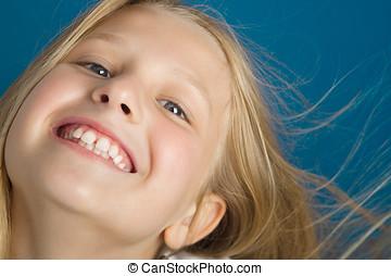 uśmiech, dziewczyna, toothy