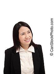 uśmiech, kobieta, asian handlowy, portret