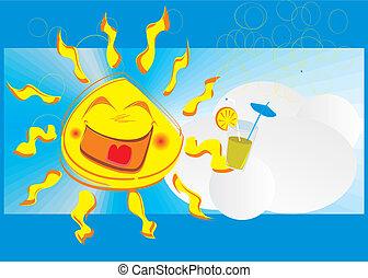 uśmiech, szczęśliwy, słońce