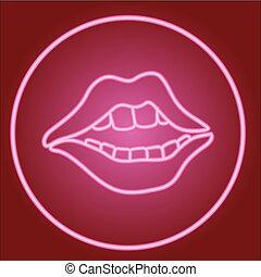 uśmiech, usteczka, zęby, koło, neon