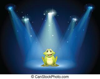 uśmiechanie się, środek, żaba, rusztowanie