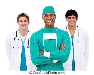 uśmiechanie się, aparat fotograficzny, drużyna, medyczny