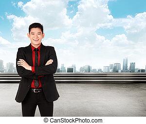 uśmiechanie się, asian handlowy, człowiek