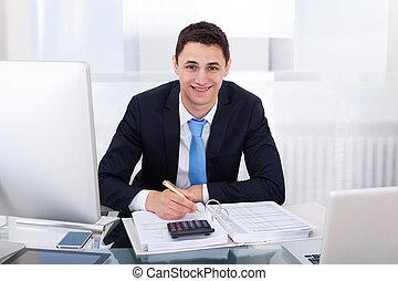 uśmiechanie się, biznesmen, liczenie, opodatkować