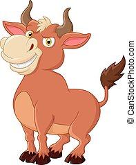 uśmiechanie się, byk, maskotka