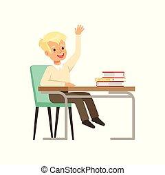 uśmiechanie się, chłopiec, litera, w, mundurek, posiedzenie, na, przedimek określony przed rzeczownikami, biurko, z, podręczniki, i, wychowywanie, jego, ręka, wektor, ilustracja