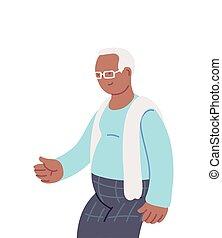 uśmiechanie się, dziad, dziadek, rysunek