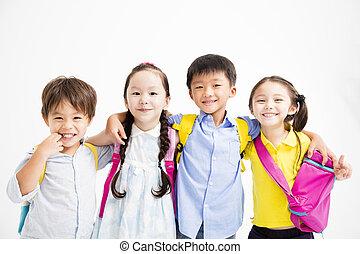 uśmiechanie się, grupa, dzieci, tulenie, szczęśliwy