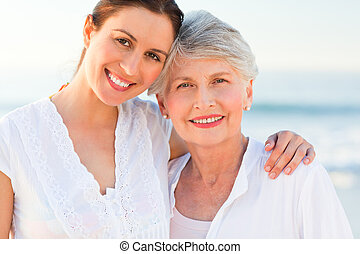 uśmiechanie się, jej, córka, macierz
