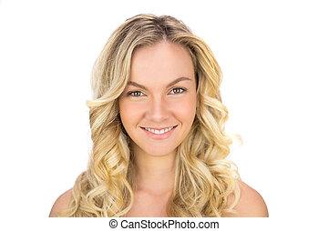 uśmiechanie się, kędzierzawy, haired, blondynka, przedstawianie