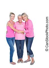 uśmiechanie się, kobiety, chodząc, różowy, szczyty, i, wstążki, dla, rak piersi