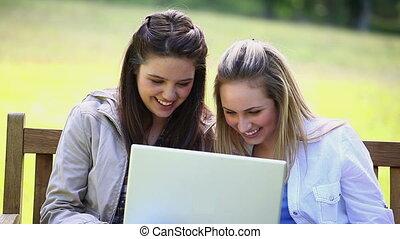 uśmiechanie się, kobiety, przeglądnięcie, niejaki, laptop
