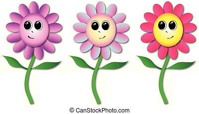 uśmiechanie się, kwiaty, twarze