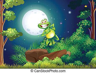 uśmiechanie się, las, żaba
