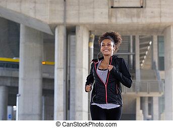 uśmiechanie się, młoda kobieta, jogging, outdoors