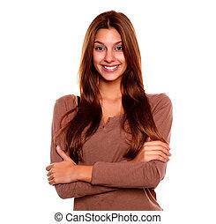 uśmiechanie się, młoda kobieta, z, niejaki, pozytywny...