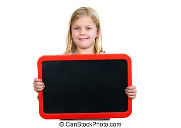 uśmiechanie się, małe dziecko, dzierżawa, czysty, czarnoskóry, deska