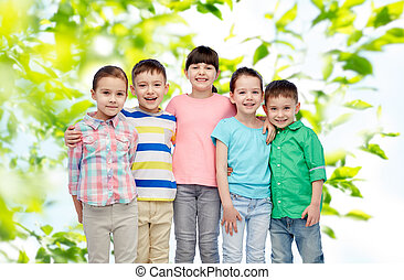 uśmiechanie się, mały, dzieci, tulenie, szczęśliwy